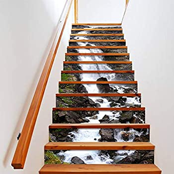 ColorSpring 3D Rock Waterfall Stair Stickers Self-Adhesive Stair Stickers Home Decor 39.3inchx 7inchx 13 PCS