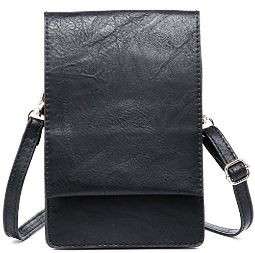 Shomico Women Small Crossbody Purse Cell Phone Pouch Wallet Shoulder Bag For 6 Inches (Kay Black) ()