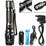 CVLIFE 1800 Lumen CREE XM-L T6 LED Zoomable Rechargeable Adjustable Focus Flashlight Lamp With 18650 Battery & Chargers