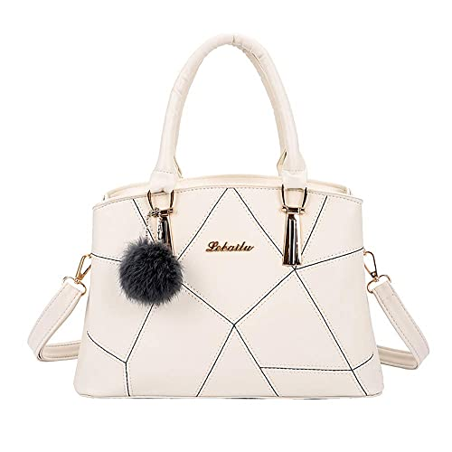 DOLDOA Womens Vintage Faux Leather Shoulder Bag Ladies Large Capacity Hairball Zipper Tote Solid Color Hand Bag,Sale Clearance