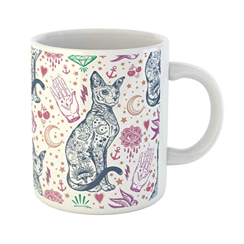 Semtomn Funny Coffee Mug Vintage Traditional Tattoo Flash Magic Inked Cat Doodle Pattern 11 Oz Ceramic Coffee Mugs Tea Cup Best Gift Or Souvenir