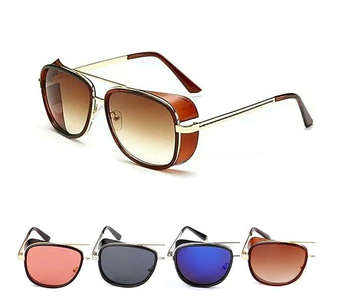 cb2ec28da79 50 Shades Unisex Tony Stark Iron Man Aviator Steampunk Retro Vintage  Sunglasses (Brown