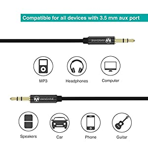 AUX Cable, Copper Shell, Hi-Fi Sound Quality by Wanshine 3.5mm Male to Male Audio Cable, Auxiliary Cable, Aux Cord - 3.3FT / 1M, Black