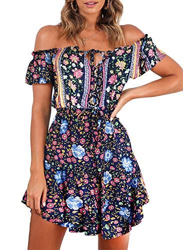 ZESICA Women's Summer Floral Printed Off The Shoulder Elastic Waist Asymmetric Hem Beach Mini Dress Navy -