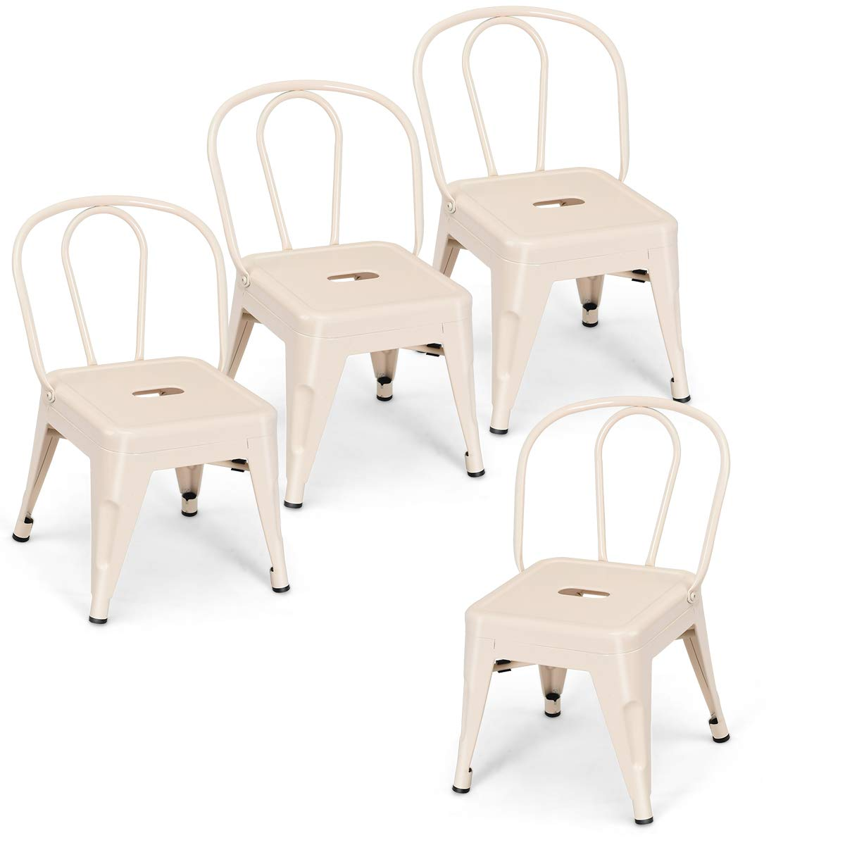 Costzon Set of 4 High Back Kids Metal Stool, Contour School Student Chair, Stackable for Indoor/Outdoor,Preschool, Daycare, Bedroom, Playroom, Iron Furniture Stool for Boys & Girls (Milky White) by Costzon