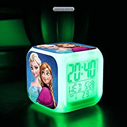 Anangel® Security Certificates Electronic Fluorescent Clock Christmas Gift Frozen Alarm Clock LED 7 Colors Change Digital Alarm Clock Frozen Anna Elsa Without Power Cord & Without Batteries