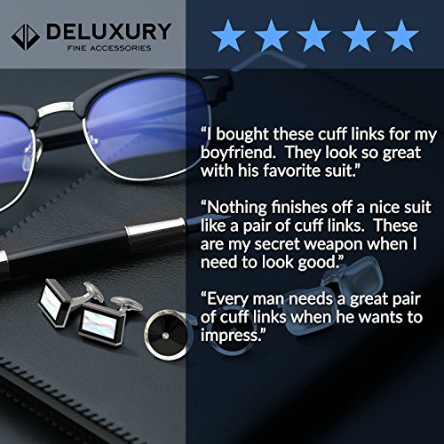 Cuff Link Set - Silver & Black Round for Men with Bonus Steel Collar Stays by Deluxury Fine Accessories (Image #8)