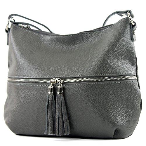 Umhängetasche Ledertasche Schultertasche T159 ital Tasche de Dunkelgrau Damentasche Leder modamoda Iq6nZFw7xE