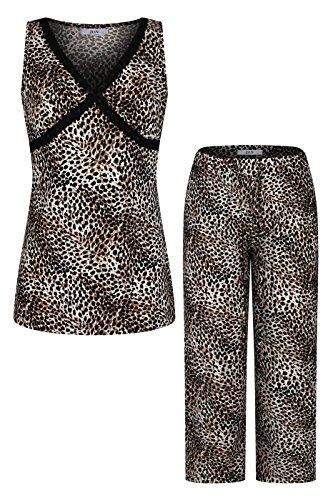 Sleeveless Lace Detail V Neck Top with Capri Pants Pajama Set Tan L (Womens Pajamas Set Top Pants)
