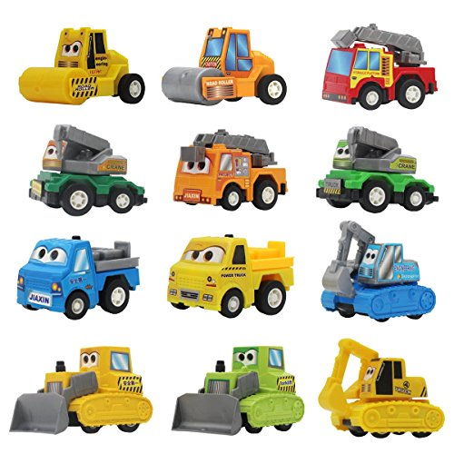 Daheiniu Mini Pull Back Vehicles Friction Powered Assorted Construction Engineering Vehicles Toy Dump Truck Excavator Bulldozer Ladder Truck Road Roller Sling Van for Kids Toddlers Boys