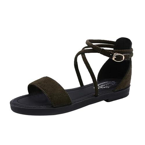 3aa1fc43159e0c AOJIAN Women Flat Sandals Cross Straps Open Toe Buckle Low Heel Sandals  Wedge Summer (5
