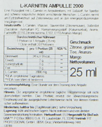 BiotestUSA Ampule L-Carnitine 2000 25 ml / 20x25 ml Carnitine - Pineapple Mango