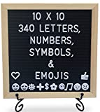 Felt Letter Board with Letters - 10 x10 inches, 340 Characters Including Emojis, Huge Bag and Black Iron Stand, Black Felt Changeable Message Board Sign with Wood Frame by Life-Glo