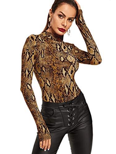 Animal Print Leotards (MAKEMECHIC Women's Pullover Snakeskin Tops Bodysuit Long Sleeves Jumpsuit Multi L)