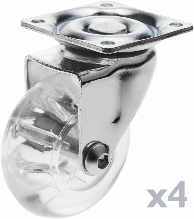 PrimeMatik - Rueda pivotante Industrial de Poliuretano y PVC Transparente sin Freno 50 mm 4-Pack