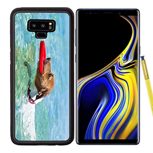 Samsung Galaxy Note9 Case Aluminum Backplate Bumper Snap Case Image ID 28835600 Dog catching a red Flying disc and Swimming in Water