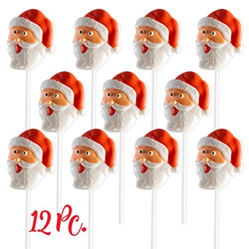 Christmas Santa Lollipops (12 Pack) Great for Christmas Goody Bag Fillers or Christmas Stocking Stuffers