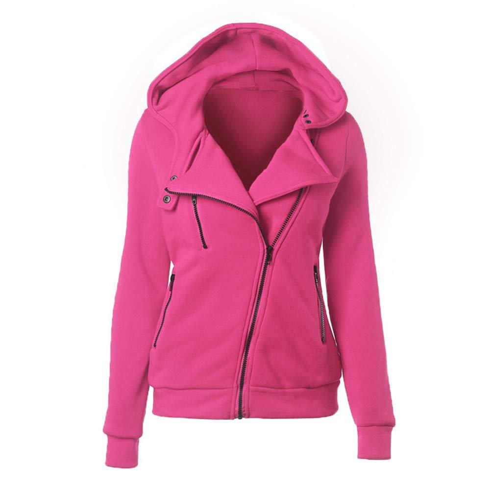 NClie-wk Spring Zipper Warm Hoodies Women Long Sleeve Hoodies Jackets Hoody Jumper Overcoat Outwear Female Sweatshirts,Blue,S,China