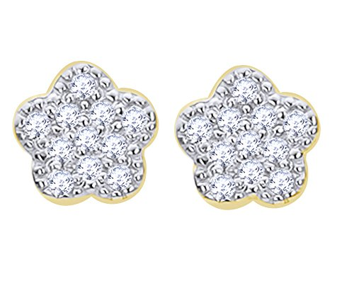 Round Cut White Natural Diamond Baby Flower Stud Earrings in 10K Solid Yellow Gold by Wishrocks