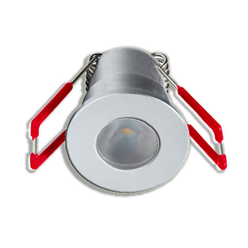 KÖNIG LED Mini Einbaustrahler 3W Dimmbar mit Fernbedienung, IP65 IP65 IP65 wassergeschützte Einbauleuchten für Innen- und Außen (Silber, 7x Minispots) cb4346