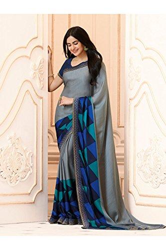 Tradizionale Sari Wedding Facioun Donne Da Sarees 10 Grigio Indossare Designer Indiano Partito Etnica n84nfwqHX