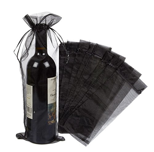 Wuligirl 20pcs Black Large Sheer Organza Wine Bottle Bags Drawstring Pouches Wedding Favors Baby Shower Dresses Festive Packaging Shampoo Bottle Bags 5.5 by 14.5 Inch(20pcs Black)