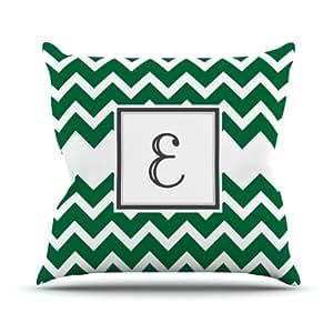 "Kess InHouse KESS Original""Monogram Chevron Green Letter E"" Outdoor Throw Pillow, 20 by 20-Inch"