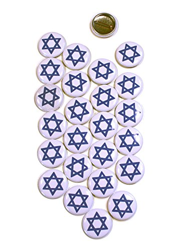 Star of David Symbol Pinback Buttons - 1 Inch Round - 25 Pack