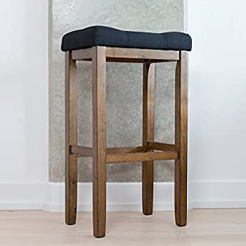 Wood Kitchen Pub-Height Bar Stool - Backless Upholstered Saddle Seat 29 Inch - & Amazon.com: Winsome Mona 29-Inch Cushion Saddle Seat Stool Black ... islam-shia.org