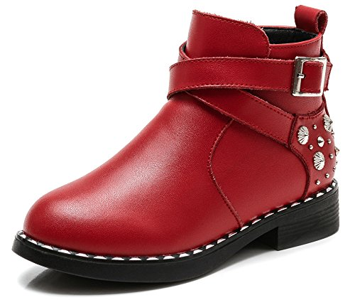 SKOEX Girl's Studded Cross Strap Side Zipper Ankle Boots Biker Booties