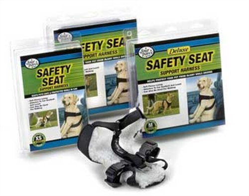 Four Paws Medium Black Safety Seat Vest Dog Harness by Four Paws