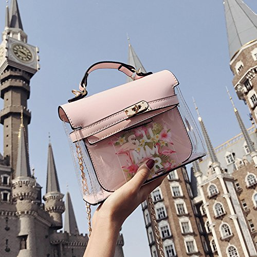 Summer slung pattern single bag fashion transparent 2018 printed Pink shoulder flamingo F8dTwwq