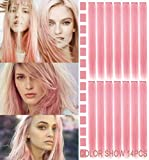 14PCS Smoke Pink Hairpieces for Kids Highlights