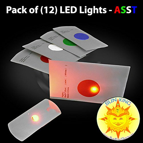 Pack of (12) Flat LED Disc Golf Lights - ASSORTED COLORS + Sun King Sticker