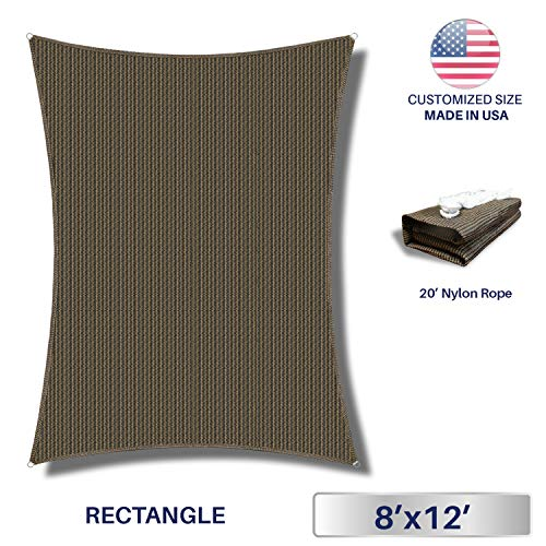 Windscreen4less Sun Shade Sail Brown 8 x 12 Rectangle Patio Permeable Fabric UV Block Perfect for Outdoor Patio Backyard – Customize Available