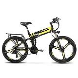 Cyrusher XF700 Folding Electric Bike 26 Inch Fat Tire Electric Bike Full Suspension Mountain Bike 36V 10.4AH Hidden Battery Shimano 21 Speeds Double Mechanical Disc Brake