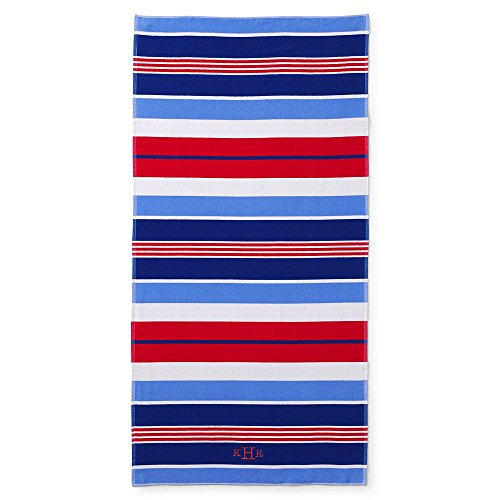 Lands' End Adult Stripe Beach Towel, , Sea Cliff Blue Seaside Stripe (Towels Beach Adult)