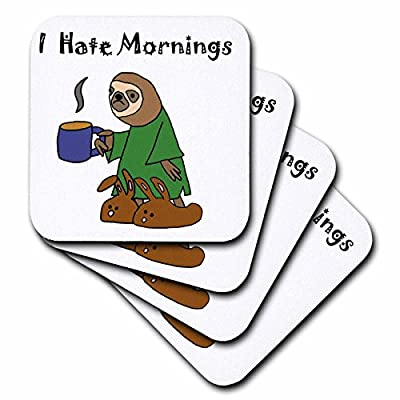 3D Rose Funny Sloth In Nightgown And Bunny Slippers Hates Mornings Soft Coasters, Multicolor - 3Drose Llc
