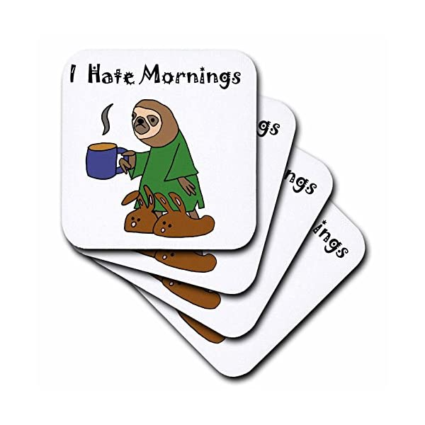 3D Rose Funny Sloth In Nightgown And Bunny Slippers Hates Mornings Soft Coasters, Multicolor -