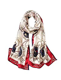 Scarf Suitable for Office Parties and Shopping Etc Printed Scarf Floral Scarf Shawl Wrap Apron Neck Protection 12 Colors Four Seasons Suitable for All Occasions (Color : 8, Size : 170cm*53cm)