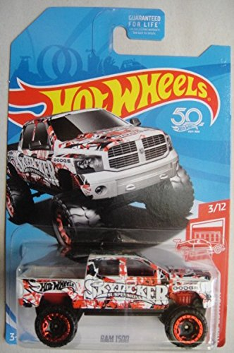 HOT WHEELS RED EDITION 3/12 EXCLUSIVE, WHITE/RED DODGE RAM 1500 50TH - Wheels Hot Dodge Ram