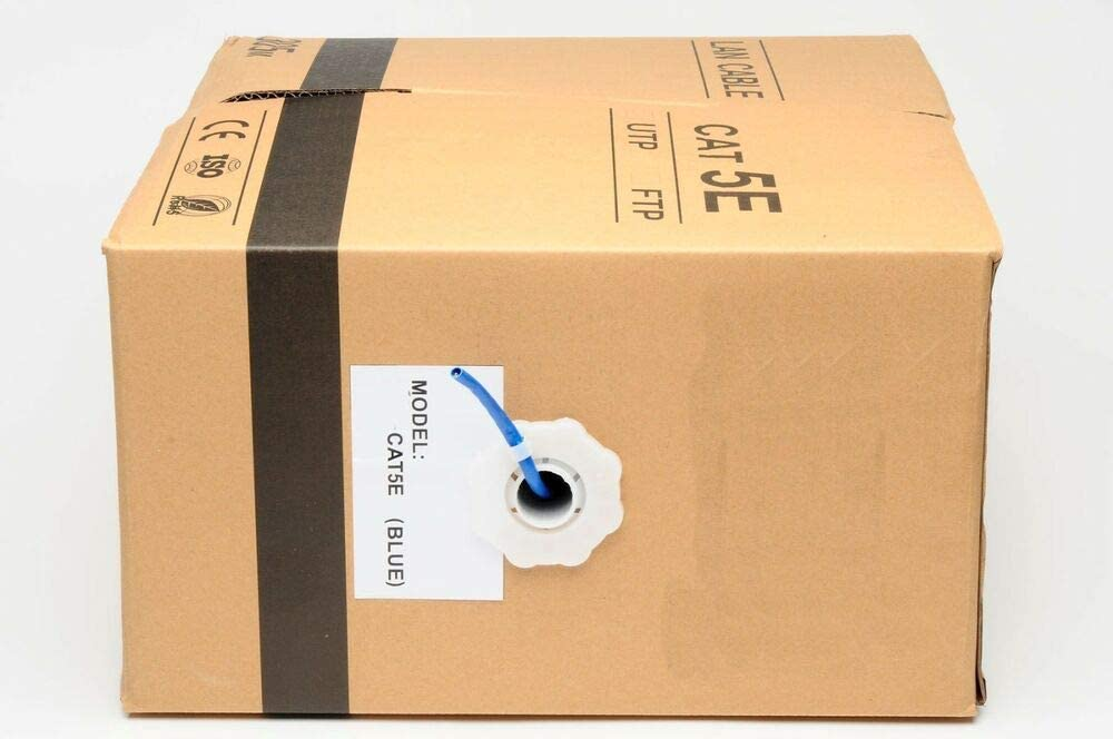 Cat5E LAN Ethernet Cable//Pull Box UTP Cat-5e Solid Network Wire Blue 1000 ft