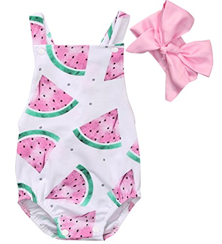 (CANIS Baby Girls Watermelons Print Backless Ruffle Bodysuit With Headband (90(12-18M), Pink))