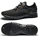TIANYUQI Women's Mesh Slip On Water Shoes,All Black,42EU/11US
