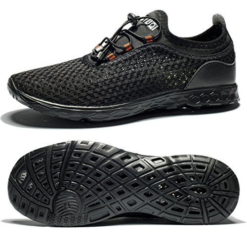 Tianyuqi Men's Mesh Slip On Water Shoes, 46 M EU / 12 D(M) US, Allblack