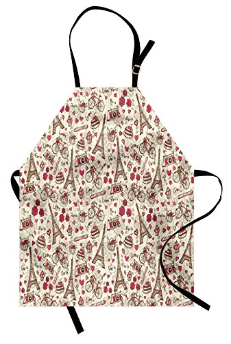 Ambesonne Romantic Apron, Europe French Paris Themed Eiffel Tower Bakery Letterings Hearts Artwork Print, Unisex Kitchen Bib with Adjustable Neck for Cooking Gardening, Adult Size, Pink -