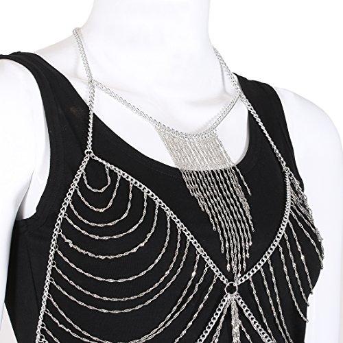 Fine Fashion Boderier Retro Bikini Bralette Chain Harness Necklace Crossover Body Chain For Women Statement Jewelry (Silver) by Fine Fashion (Image #2)