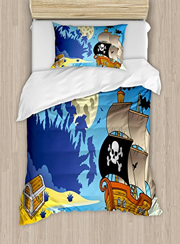 Ambesonne Pirate Duvet Cover Set Twin Size, Buccaneer Adventure Antique Ship Deserted Tropical Island Chest Midnight Filibuster, Decorative 2 Piece Bedding Set with 1 Pillow Sham, Multicolor by Ambesonne