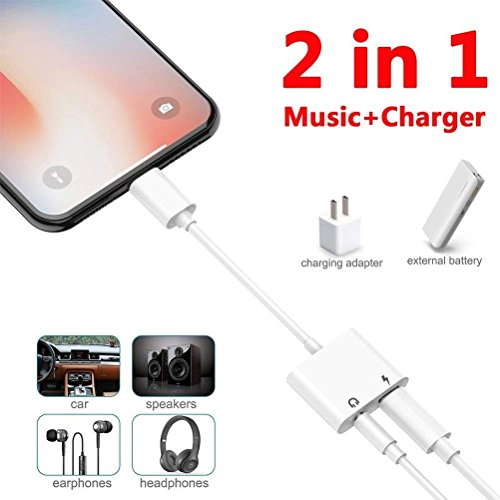 Headphone Adapter Jack for iPhone Cable Aux Cord Car Charger to  [Music+Charge] Compatible Adaptor with iPhone 8/8Plus 7/7Plus Dongle 2 in 1  Dual