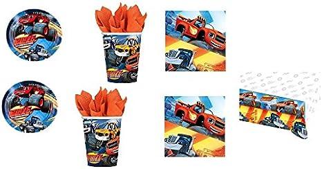 Casa Dolce Casa - Juego de vajilla desechable para su mesa de cumpleaños infantil - Diseño Blaze y los Monster Machines - Kit nº. 9 (32 platos, 32 vasos, 40 servilletas y 1 mantel): Amazon.es: Hogar